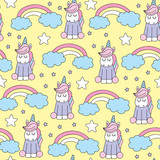 seamless yellow unicorn pattern vector illustration