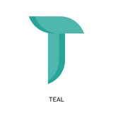 teal logo isolated on white background , colorful vector icon, brand sign & symbol for your business - 204634456