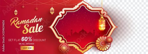 Ramadan sale, web banner design with 60% discount offers, mosque illustration, hanging lanterns and space for your product image on red background.
