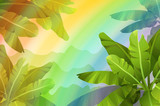 Rainbow in the jungle. Tropical background. Stylized plants and leaves. Vector illustration.