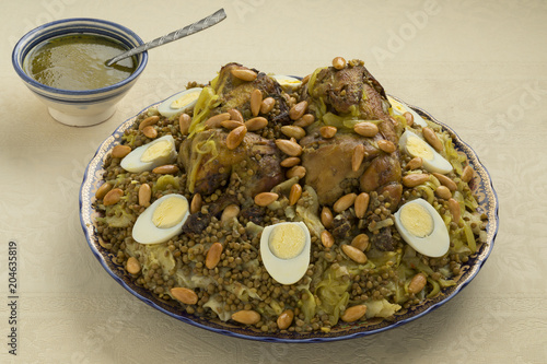 Fotobehang Marokko Traditional Moroccan Rfissa dish with eggs and almonds