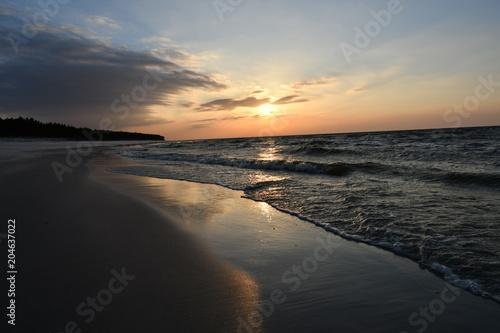 Plexiglas Strand Wonderful sunset in Debki