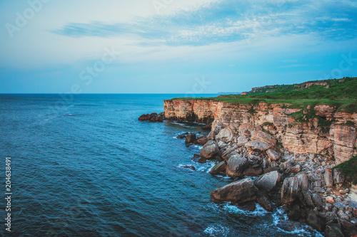 Plexiglas Blauw Rocky coast on Cape Kaliakra, Black Sea, Bulgaria