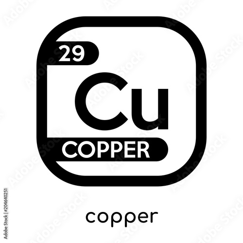 copper symbol periodic table isolated on white background black vector sign and symbols - Periodic Table Copper Symbol