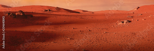 landscape on planet Mars, scenic desert on the red planet - 204640843