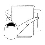 coffee cup with pipe wooden vector illustration design