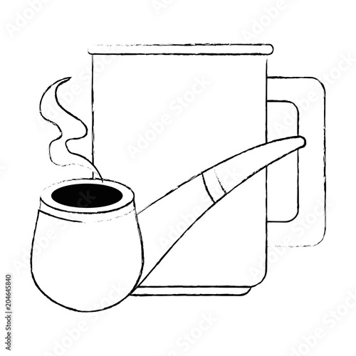 Poster coffee cup with pipe wooden vector illustration design