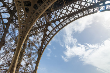 Details on the wrought iron of the Eiffel Tower against the sky. Paris, France