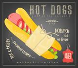 Hot Dog on Chalkboard - 204655096