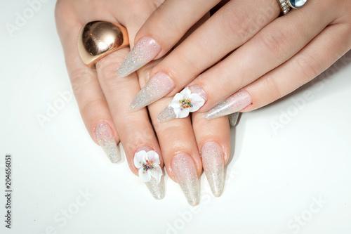 Plexiglas Manicure Amazing 3d Flower nail art design on tinted glass nails.
