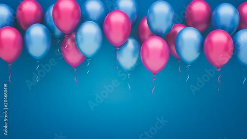 Różowe i niebieskie balony tło