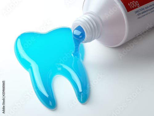 Toothpaste in the shape of tooth coming out from toothpaste tube. Brushing teeth dental concept. - 204660665