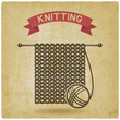 knitting tools. hand made symbol vintage background