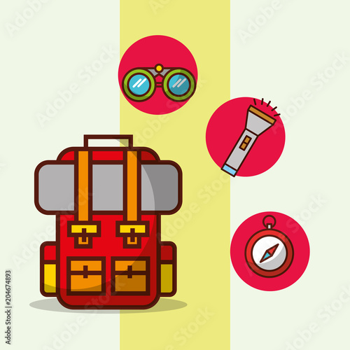 backpack compass lantern time to travel adventure equipment vector illustration