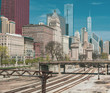 Chicago Cityscape Skyline Railroad