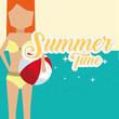 summer time cartoon woman with beach ball travel leisure poster vector illustration - 204676649