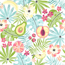 Seamless Pattern  Fruits And Flowers Sticker