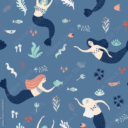 Cotton fabric Marine seamless pattern with mermaids