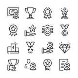 Awards line icons set. Modern graphic design concepts, simple outline elements collection. Vector line icons - 204679657