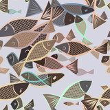 Seamless abstract fish illustrations background. Style, creative, pattern & repeat. - 204682241