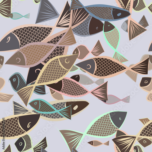 Fototapeta Seamless abstract fish illustrations background. Style, creative, pattern & repeat.