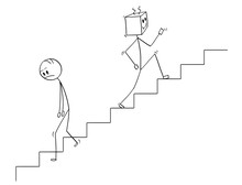 Cartoon Stick Man Drawing Conceptual  Human Going Down The Stairs And Robot Moving Up Quickly Concept Of Artificial Intelligence Or Ai Superiority And Replacing Declining Mankind Sticker