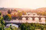 Bridges of Prague over Vltava River on sunny summer day. Scenic view from Letna. Prague, Czech Republic.