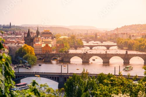 Sticker Bridges of Prague over Vltava River on sunny summer day. Scenic view from Letna. Prague, Czech Republic.