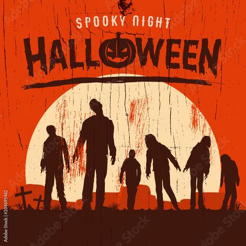 Halloweenowy plakat, sylwetka żywi trupy chodzi przy cmentarzem, Wektorowa ilustracja
