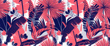 Seamless pattern, hand drawn tropical plant, leaf, pink and blue tones on white background