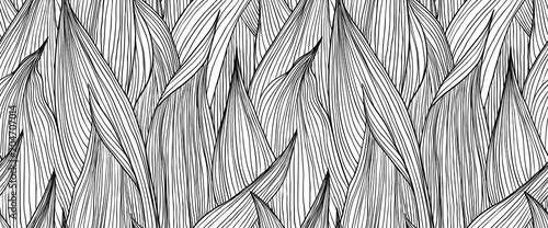 Seamless pattern, hand drawn outline black ink long shape leaves on white background - 204707014