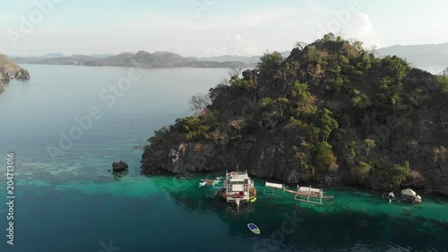 Aerial footage of lagoon - push out shot