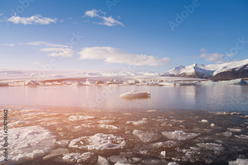 Fotobehang Lichtroze Jokulsarlon glacier winter season lagoon, winter season natural landscape background