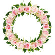 Beautiful white rose flowers and leaves in a round frame