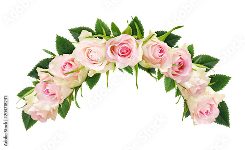 Beautiful white rose flowers and leaves in arch composition