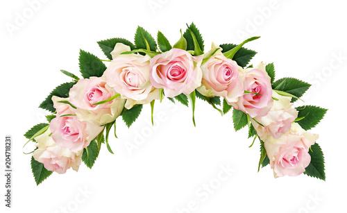 Piękni białej róży kwiaty i liście w łękowatym składzie