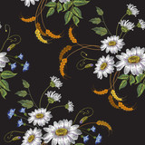 Beautiful white chamomiles on black background. Template for clothes, textiles, spring flowers, t-shirt design. Chamomiles embroidery seamless pattern - 204718411