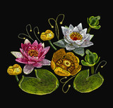Classical embroidery lotus and water lilies, template fashionable clothes, t-shirt design, print art. Embroidery water lily flowers - 204718415