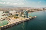 Barcelona aerial, skyline city panorama and the beach on sunny afternoon, Spain
