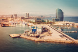 Barcelona aerial view, Spain. Port and marina area. Vintage colors with light leak