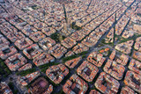 Barcelona aerial view, Eixample residencial district with typical urban grid, Spain. Late afternoon light