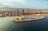 Barcelona aerial view of Port Olimpic and the beach, Spain. Vintage colors