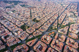 Barcelona aerial view, Eixample residencial district with typical urban squares, Spain. Late afternoon light
