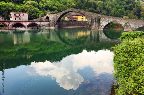 Plexiglas Bruggen Traditional villages of Tuscany - Bagni di Lucca, famous for its hot springs and termal waters, Italy