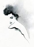 beautiful woman. fashion illustration. melancholy.  watercolor illustration - 204723405
