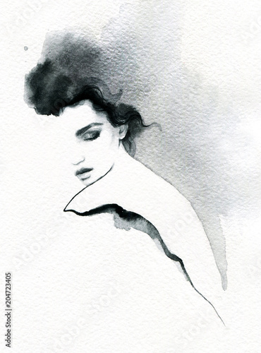 Fotobehang Anna I. beautiful woman. fashion illustration. melancholy. watercolor illustration