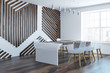 Stylish dining room wood wall pattern side view