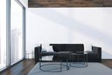 Loft white and black living room interior