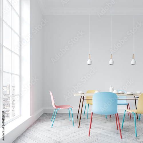 Bright chairs dining room interior close up - 204724219