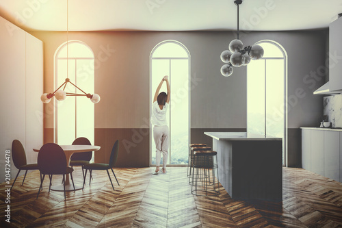 Gray kitchen interior arched windows bar toned - 204724478